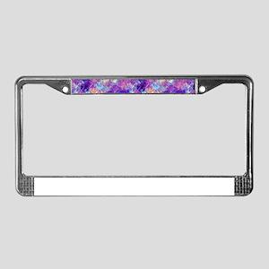 Violet Crumpled Pattern Abstra License Plate Frame