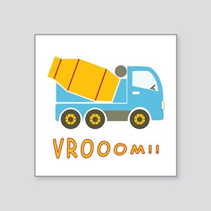 "Cement mixer truck Square Sticker 3"" x 3"""