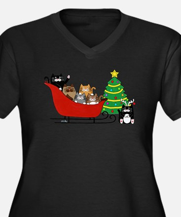 Cute Christmas Women's Plus Size V-Neck Dark T-Shirt