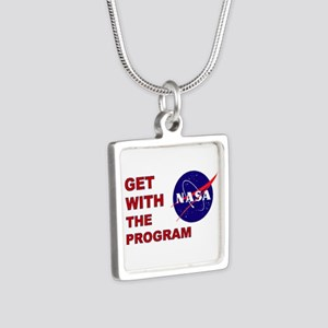GET WITH THE PROGRAM Silver Square Necklace