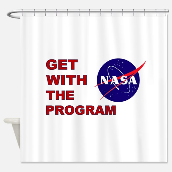 GET WITH THE PROGRAM Shower Curtain