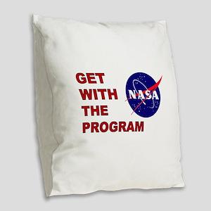 GET WITH THE PROGRAM Burlap Throw Pillow