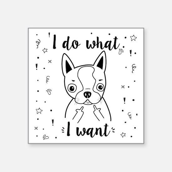 """Boston Terrier I Do What I  Square Sticker 3"""" x 3"""""""