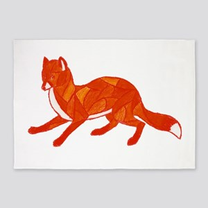 Red Fox Stained Glass 5'x7'Area Rug