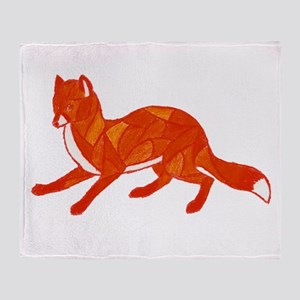 Red Fox Stained Glass Throw Blanket