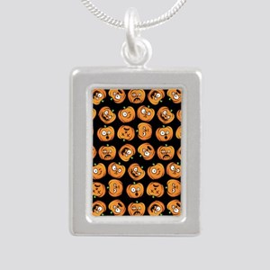 Cute Halloween Pumpkin F Silver Portrait Necklace