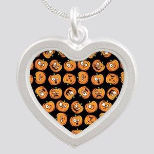 Cute Halloween Pumpkin Funny Silver Heart Necklace