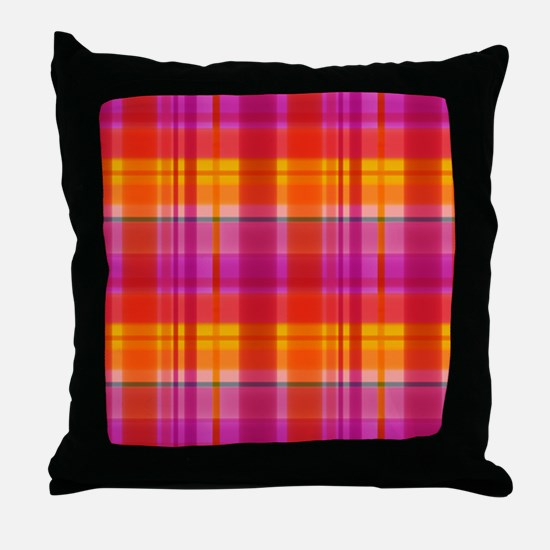 Fall Colors Plaid Throw Pillow