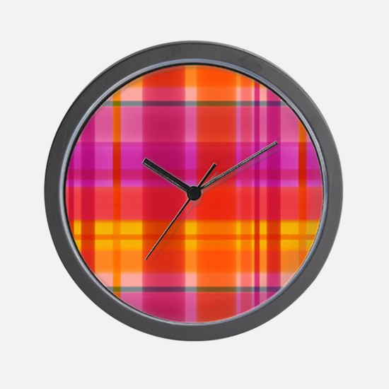 Fall Colors Plaid Wall Clock