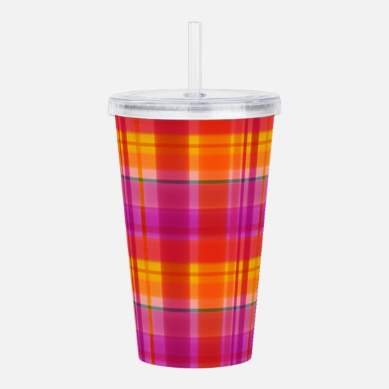 Fall Colors Plaid Acrylic Double-wall Tumbler