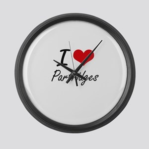 I Love Partridges Large Wall Clock