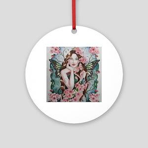 Cherry blossom fairy faerie fantasy Round Ornament