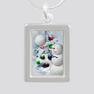 Volleyball Snowman xmas Silver Portrait Necklace