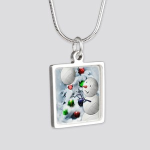 Volleyball Snowman xmas Silver Square Necklace