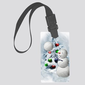Volleyball Snowman xmas Large Luggage Tag