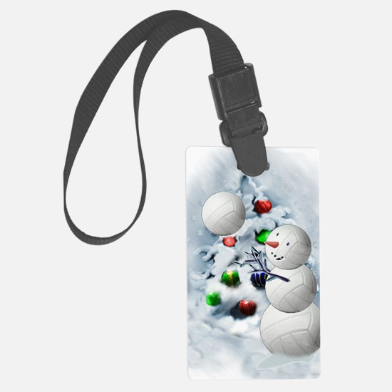 Volleyball Snowman xmas Luggage Tag