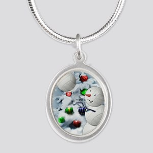 Volleyball Snowman xmas Silver Oval Necklace