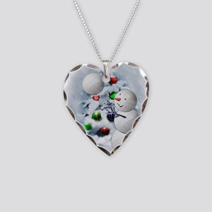 Volleyball Snowman xmas Necklace Heart Charm