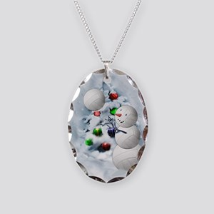 Volleyball Snowman xmas Necklace Oval Charm
