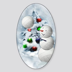 Volleyball Snowman xmas Sticker (Oval)