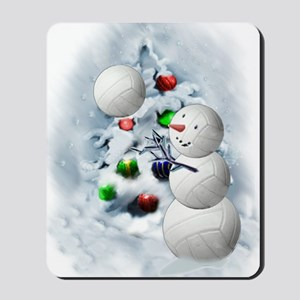Volleyball Snowman xmas Mousepad