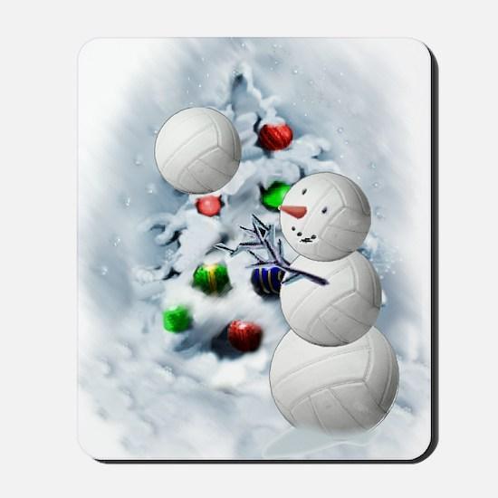 Volleyball Snowman xmas Mousepad