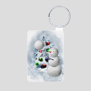 Volleyball Snowman xmas Aluminum Photo Keychain