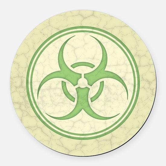 Antique Biohazard -grn Round Car Magnet