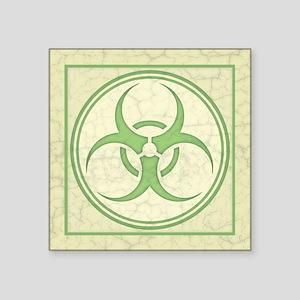 "Antique Biohazard -grn Square Sticker 3"" x 3"""