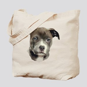 Blue Pitbull Pup Tote Bag