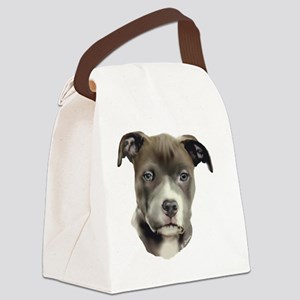 Blue Pitbull Pup Canvas Lunch Bag