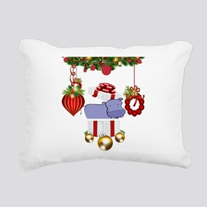 Christmas Hippo Rectangular Canvas Pillow