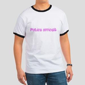 Police Officer Pink Flower Design T-Shirt