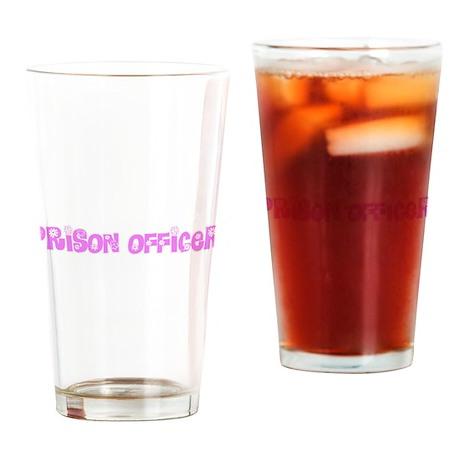 Prison Officer Pink Flower Design Drinking Glass