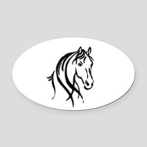 Black Horse Oval Car Magnet