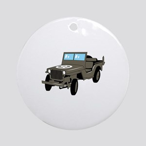 WWII Army Jeep Round Ornament