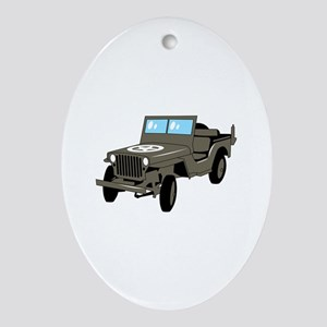WWII Army Jeep Oval Ornament