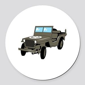 WWII Army Jeep Round Car Magnet