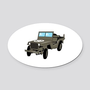 WWII Army Jeep Oval Car Magnet