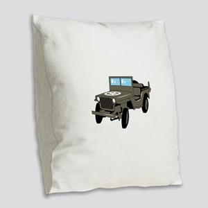 WWII Army Jeep Burlap Throw Pillow