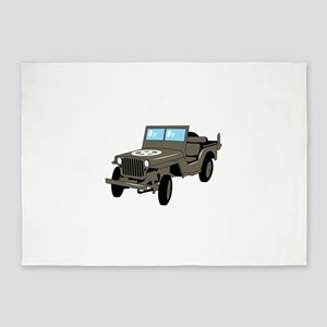 WWII Army Jeep 5'x7'Area Rug