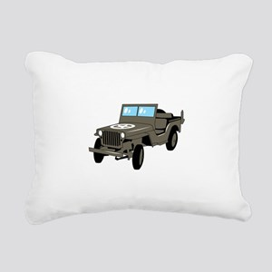 WWII Army Jeep Rectangular Canvas Pillow