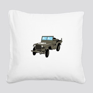 WWII Army Jeep Square Canvas Pillow