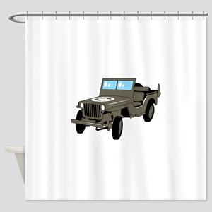 WWII Army Jeep Shower Curtain