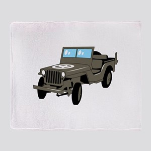 WWII Army Jeep Throw Blanket