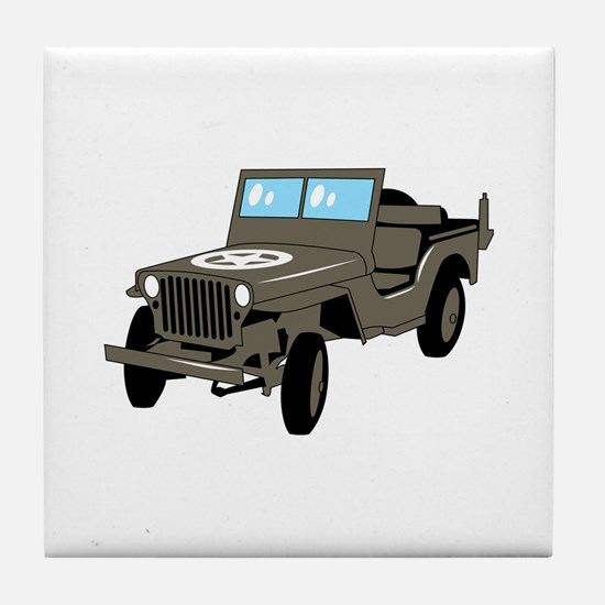 WWII Army Jeep Tile Coaster