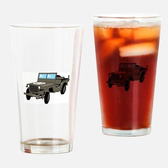 WWII Army Jeep Drinking Glass
