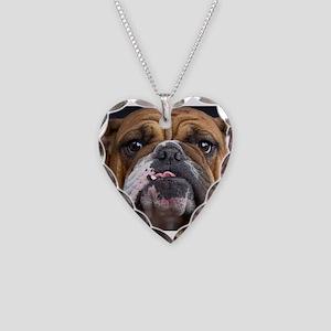 English Bulldog Necklace Heart Charm