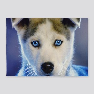 Husky Puppy 5'x7'Area Rug