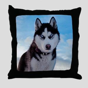 Husky Dog Outdoors Throw Pillow